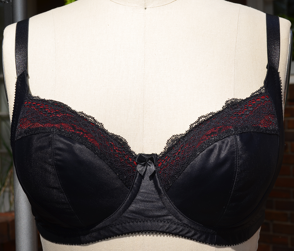 black full cup bra with a hint of red